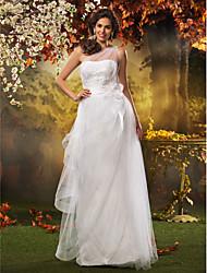 Lan Ting A-line/Princess Plus Sizes Wedding Dress - White Floor-length One Shoulder Tulle