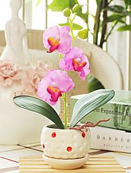 8 «arrangement Pink Orchid papillon avec vase en céramique