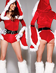Red Polyester Women's Christmas Bodysuit