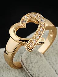 Chapeamento de ouro Zircon 13mm Anel J0750 da KU NIU Mulheres