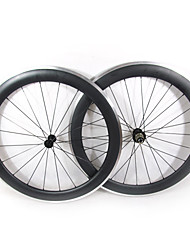 Farsports-700c Road 60mm Carbon Clincher Road Bicycle Wheels with Alloy Brake