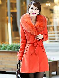 Lächeln Frau Frauen Zweireiher Medium Fur Neck Thicken Tweed Coat