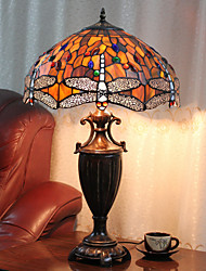 Beads And Butterflies Decoration Table Lamp, 2 Light, Tiffany Resin Glass Painting