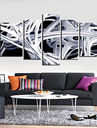 Stretched Canvas Print Art Abstract Cuve Lines Set of 5