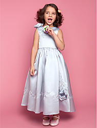 Ball Gown Ankle-length Flower Girl Dress - Satin Sleeveless