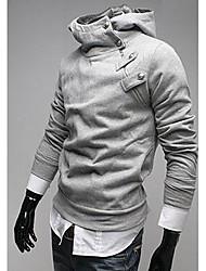 URUN Men's Fashion High Neck Long Sleeve Warm Tops (Light Gray)