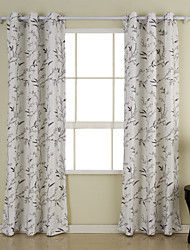(Two Panels) Simple and Elegant Country Floral Print Energy Saving Curtain