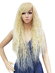 Capless Synthetic Light Golden Long Pompon Curly Wig