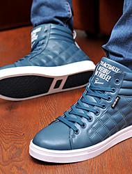 GULAIDE Freizeit Helle Farbe Leder Nähen High Top Schuhe (Blau)