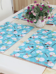 """Christmas Snowmen Placemats Set of 6, Polyester, 12""""*18"""" 1pc"""