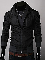JYFZ Men's Black Whorl Bottom Stand Collar Jacket
