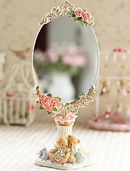 """11.25 """"H Floral Retro Polyresin Espejo de sobremesa"""