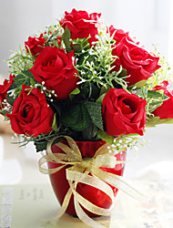"8.75""Christmas Red Roses Arrangement With Ceramic Vase"