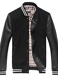Men'S Stand Collar Pu Stitching Jacket