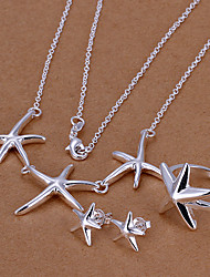 Sweet Silver Plated (Necklace & Earrings & Ring) Jewelry Set (Silver)