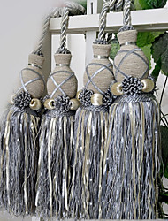 Classic Grey Polyester Tassel (One Pair)