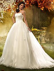 Lan Ting A-line/Princess Plus Sizes Wedding Dress - Ivory Court Train Spaghetti Straps Tulle