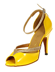 Customizable Women's Dance Shoes Latin/Ballroom Leatherette Customized Heel Yellow