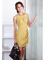 Ronda de cuello sin mangas largas secciones de unifo Mostrar vestido de las mujeres