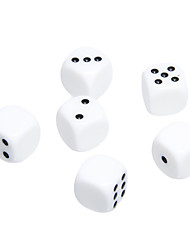 16mm 6 pack ABS blanc Polka Dot Dices aveugles