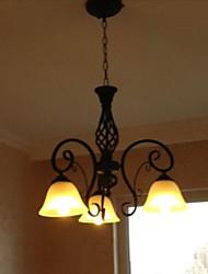 Chandelier, 3 Luz, Rústico Processamento de vidro Pintura