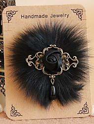 Handmade Furry Black Satin Flower Gothic Lolita Brooch