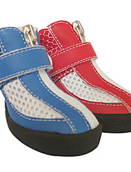 Fashion PU Cotton Net Layer Magic-taped Zipper Shoes for Pets Dogs (Assorted Colors, Sizes)