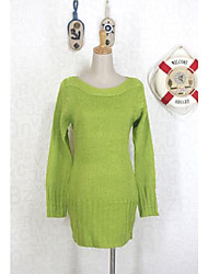 INNA Women's Green Boat Neck Fit Long Sweater