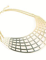 Collana di alta lucentezza metallica Texture larghe Skinny collare del Choker screziatura Bib Collare delle donne
