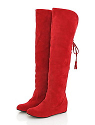 Women's Fall Winter Snow Boots Suede Dress Low Heel Lace-up Grey Black Red Brown Yellow