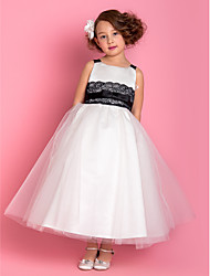 A-line Princess Ankle-length Flower Girl Dress - Satin Tulle Straps with Bow(s) Lace Sash / Ribbon