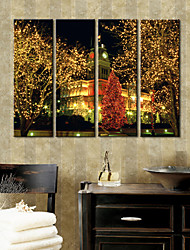 Stretched Canvas Print Art Street in Christmas Set of 4