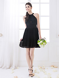 LAN TING BRIDE Short / Mini High Neck Bridesmaid Dress - Little Black Dress Sleeveless Chiffon