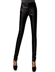 Black PU cuir de Rui Xiao Y des femmes de trois boutons en cuir Fit Pants