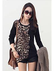Leopard Женские Сращивание T-Shirt