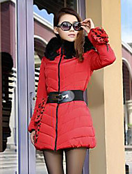 Flower Love Fashion High Quality Thicken Slim Fur Collar Hoodie Padded Coat(Red)