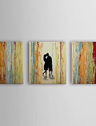 Pintado a mano la pintura al óleo personas besándose con el marco de estirado Juego de 3-1311-PE1089