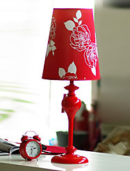 Red Elegant Table Light With Rose Patterned Shade