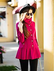 TS Lapel Ruffle Hem Long Tweed Coat