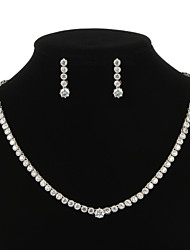 Graceful Copper Platinum Plated With Cubic Zirconia Necklace Earrings Jewelry Set