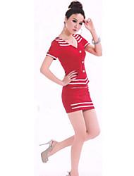 Classic Red Lycra Stewardess Uniform (3 Pezzi)