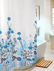 """Rideau de douche style moderne fleur bleue Imprimer épais Tissu W71 résistant à l'eau """"x L71"""" avec des crochets mentale"""