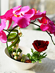 """10""""Deep Pink Butterfly Orchid Faux Floral With White Vase"""