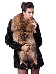 Long Sleeve Shawl Faux Fur Party/Casual Coat