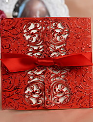 Pretty Floral Cut-out Wedding Invitation With Bowknot - Set of 50
