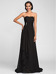 Sweep/Brush Train Chiffon Bridesmaid Dress - Black Plus Sizes / Petite Sheath/Column Strapless