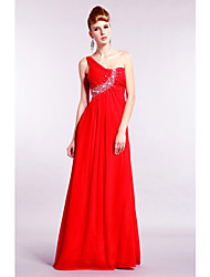 Yolan Asymmetrical Shoulder Beads Floor-Length Dress
