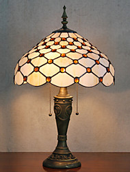 Beads Decoration Table Lamp, 2 Light, Tiffany Resin Glass Painting