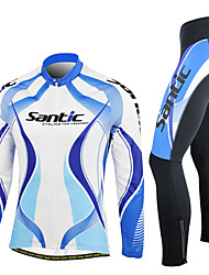 SANTIC-Men's Blue and White Long Sleeve Thermal Cycling Suit