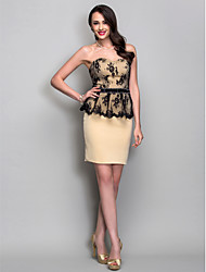 Cocktail Party / Holiday Dress - Champagne Plus Sizes / Petite Sheath/Column Sweetheart Short/Mini Jersey